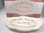 Fitz & Floyd Be Merry Christmas Holiday Sentiment Serving Tray Oval Plate NIB