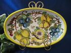 DERUTA ITALY Italian Pottery LEMON BUMBLE BEE Oval Serving Platter Bowl Dish