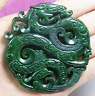 New CHINESE OLD HANDWORK CARVE GREEN JADE DRAGON PENDANT