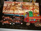 Winner of the West Wells Fargo Overland Stagecoach Battery-Op Toy Alps 1950s Tin