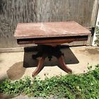 Vintage or Antique Marble Top Coffee Table Beautiful Engraved Wood Designs