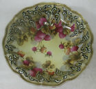 ANTIQUE HAND PAINTED NIPPON LARGE BOWL-GOLD MORIAGE-BERRIES-BLUE MAPLE LEAF MARK
