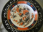 Vintage TFF Japanese Porcelain Ware Dish Plate in Brass Bowl Decorated Hong Kong