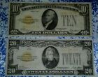 Lot of 2 US gold certificates banknotes 10 & 20 dollars series of 1928