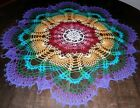 Stunning Real Handmade Crochet Lace Tablecloth-Doily Multi-color, Round, 30
