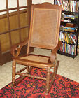 ANTIQUE WOODEN CANE BACK AND CANE SEAT ROCKING CHAIR