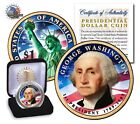 Uncirculated 2 side Colorized  Presidential Dollar Coin GEORGE WASHINTON /IN BOX