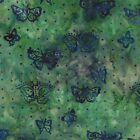 Green Butterfly Enchanted Pond Batik Fabric -  Moda Fabric - Holly Taylor - BTY