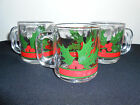 Set Of 3 Vintage Libbey Holly and Berries Glass Coffee Cups Mug Christmas nice!