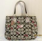Authentic Coach Poppy Black/Silver/Red Metallic Hearts Glam Tote 18711 EXC COND!