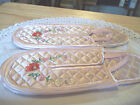 Vintage hand embroidered Japanese silk slippers Estate Pink multi leather sole