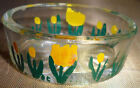 6 Vintage Hand Painted Tulip Collectible Clear Glass Individual Salt Cellar Dish