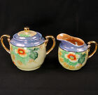 NIPPON Mitsui CREAMER & 2-Handled SUGAR w/LID Hand Painted FLOWERS Luster GOLD