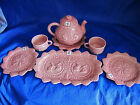 Embossed BORDALLO PINHEIRO Pink Majolica Rabbit Bunny 8pc Teapot Plates Cups