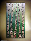 Landscape Original Abstract Large Painting.Palette Knife.Birch Forest by Nata S