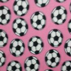 Soccer Balls On Pink Polar Fleece Fabric BY THE YARD