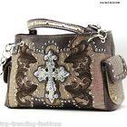 DR_893_Taupe Rhinestone Studded Cross Handbag Western Style Cowgirl Bling Purse