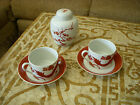 FITZ & FLOYD - LOT of 2 Temple Dragon Tea Coffee Cup Saucer Red White Asian