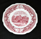 6 ROYAL SWAN HISTORIC CASTLES BREAD PLATES PINK TRANSFER WARE, marked
