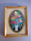 Antique Reverse Foil Painting on Glass Floral Small Brass Wall Frame