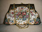 Tapestry Clutch Purse with Chain Floral Design Vintage
