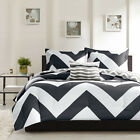 BEAUTIFUL MODERN REVERSIBLE BLACK WHITE GREY STRIPE SPORT CHEVRON COMFORTER SET