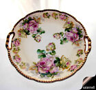 Antique Hand Painted Handled Cake Plate Royal Rudolstadt Prussia Gold F. Hahn