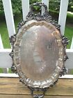 LARGE VINTAGE SILVER-PLATED ON COPPER ORNATE FOOTED TRAY-LIKE GRANDE BAROQUE