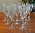 ROSE POINT 3121 WATER GOBLET CAMBRIDGE ETCHED CRYSTAL STEMWARE ~ SET OF 9