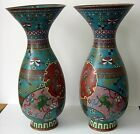 Pair of large unusual  Japanese Cloisonne Vase Meiji Ming foo dog dragon Nagoya?