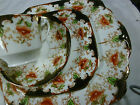 ANTIQUE WELLINTON CHINA TEA CUP AND SAUCER TRIO & BREAD PLATE CORAL POPPY c1906