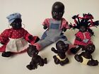Antique Museum Quality African American Family 6 Piece Slave Doll Set