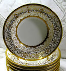 10 Coalport, Eng. Porcelain Rim Soup Bowls Raised Gilt on Cream 1900-1940