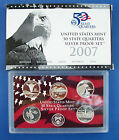 2007 US MINT 50 STATE QUARTERS SILVER PROOF SET WITH COA & BOX