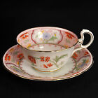 AYNSLEY Footed CUP & SAUCER 1905-1925 Doris Handle Hand Painted ORANGE Scalloped