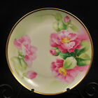 LIMOGES Latrille Freres Old Abbey PLATE 1908-1913 PINK ROSES Signed MANET w/GOLD