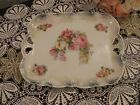 Antique porcelain SILESIA TRAY with handles beautiful CABBAGE ROSES
