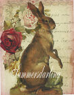 EASTER RABBIT&ROSES*FRENCH PAPERS*2 -  5X7 FABRIC BLOCKS*GREAT ONE