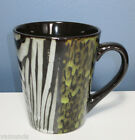 NEW ANIMAL PRINT STONEWARE COFFEE MUG  Green Black Gray by GIBSON 13 oz