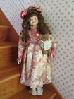 Antique Porcelain Girl Doll Red Hair and Blue Eyes by Dandee International