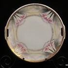 RS GERMANY CAKE PLATE 2 Handles HAND PAINTED Pink & White LILIES 1910-45 GOLD