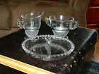 LOVELY CANDLEWICK DEPRESSION GLASS CREAMER, SUGAR BOWL, CANDY DISH, BONUS PLATE