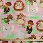 Jungle Animals Pink Polar Fleece Fabric BY THE YARD
