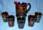 Northwood Carnival Glass Grape & Cable Water Set Pitcher & 5 Tumblers Amethyst
