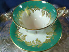 AYNSLEY FANCY  TEA CUP AND SAUCER AQUA WITH  GOLDEN foliage c1950s