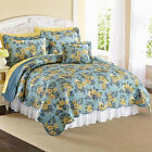 BEAUTIFUL BLUE YELLOW FLORAL TWIN SIZE QUILT BED SET NEW