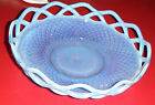 Blue Opalescent Hobnail Lattice Candy Bon Bon Dish 8