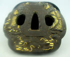 Antique Early 19th Century Japanese Tsuba- Sword Fitting Iron Inlaid w/Real Gold