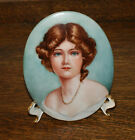 Vintage Porcelain Hand Painted Oval Plaque of Victorian Woman Signed