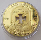 24K GOLD PLATED WWII FALLEN COMRADES Commemorative COIN/ MEDAL WWI IRON CROSS